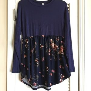 Acting Pro Floral Dress/Top SZ S Navy Blue-F1